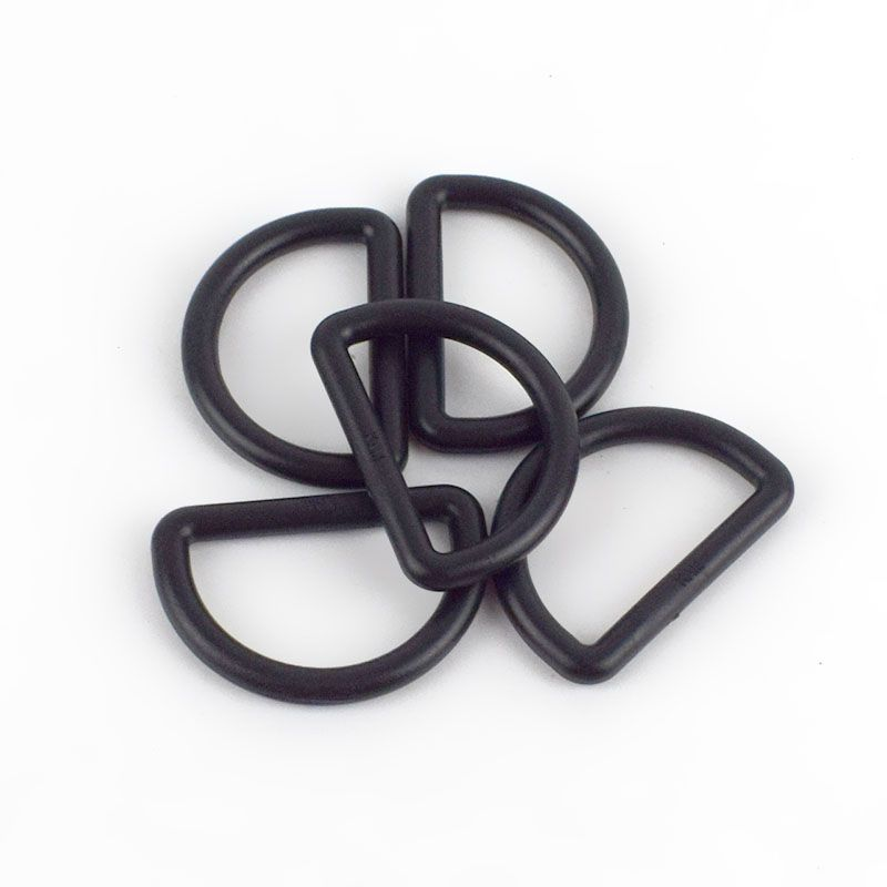 Strong Plastic D Rings 25mm - 2 Pack - Black