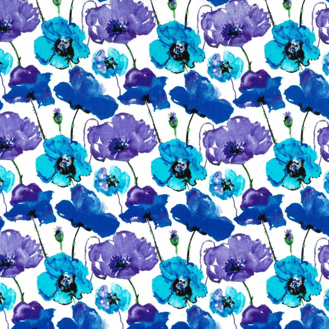 Stretch Cotton Fabric - Blue Poppies