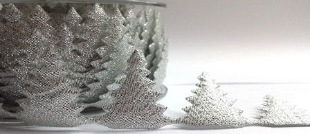 Remnant -Berties Bows Novelty Christmas Trim - Silver Christmas Trees - 25mm - 185cm LENGTH