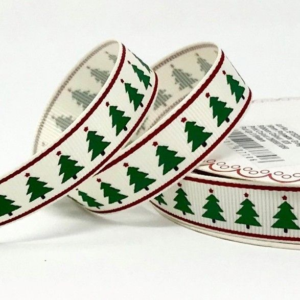 Berties Bows - Christmas Tree Print On White Grosgrain Ribbon - 16mm Wide