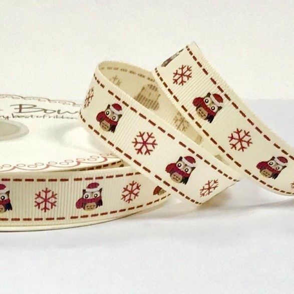Berties Bows - Christmas Owl & Snowflakes On Ivory Grosgrain Christmas Ribbon - 16mm Wide