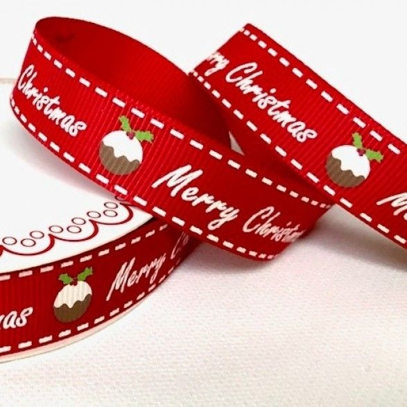 Berties Bows - Merry Christmas & Pudding On Red Grosgrain Christmas Ribbon - 16mm Wide