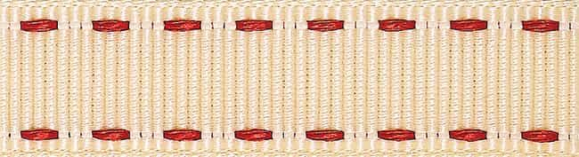 Berisfords 15mm Stitched Grosgrain Ivory / Red Ribbon 4m Reel