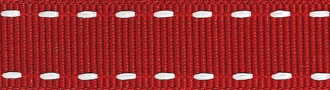 Berisfords 15mm Stitched Grosgrain Red / White Ribbon 4m Reel