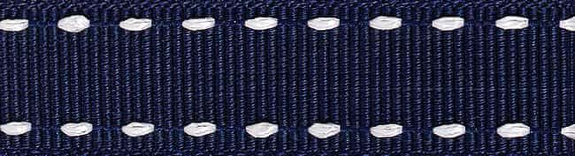 Berisfords 15mm Stitched Grosgrain Navy / White Ribbon 4m Reel