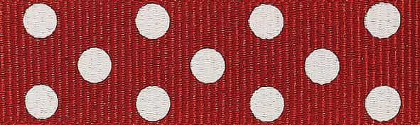 Berisfords 15mm Spotty Grosgrain Red / Ivory Ribbon 4m Reel