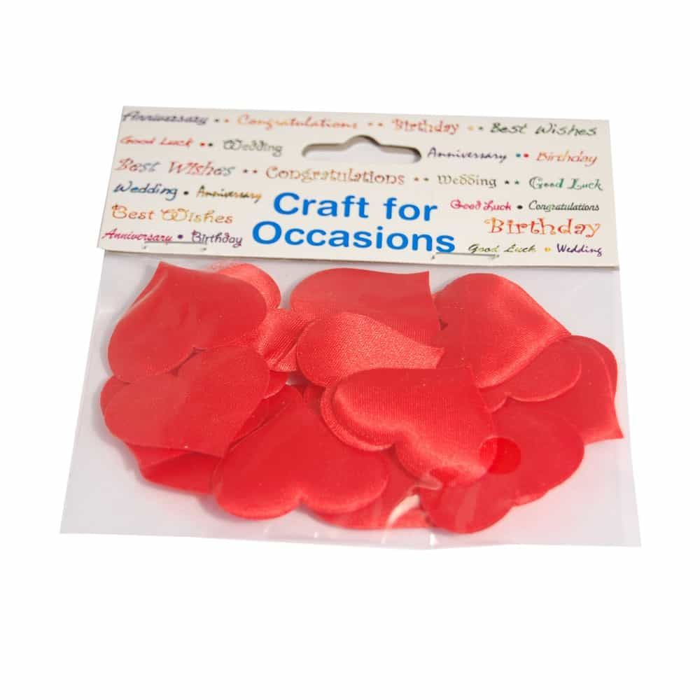 Red Padded Satin Self Adhesive Love Hearts - 35mm - 24 Per Pack
