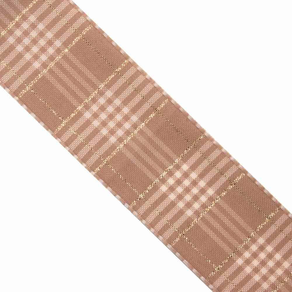 Berisfords 25mm Rustic Plaid Oatmeal Ribbon 3m Reel