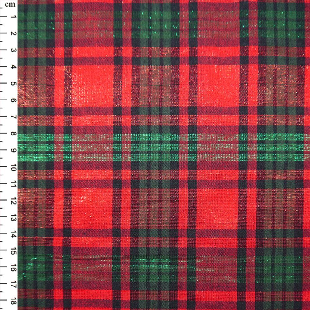 Christmas Cotton Red Green Tartan With Shimmer