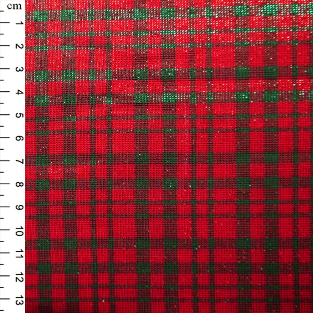 Christmas Cotton Red Green Small Check Tartan With Shimmer