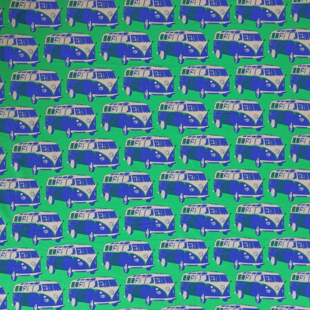 Stretch Cotton Spandex Jersey Knit - Retro VW Camper Vans On Green