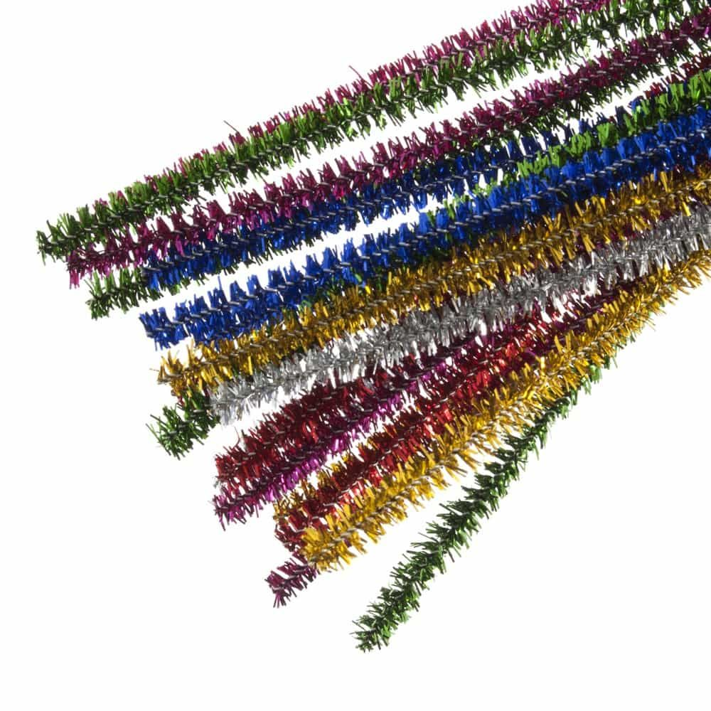 Glitter Chenilles / Pipe Cleaners - Assorted 6mm x 300mm - 20 Per Pack