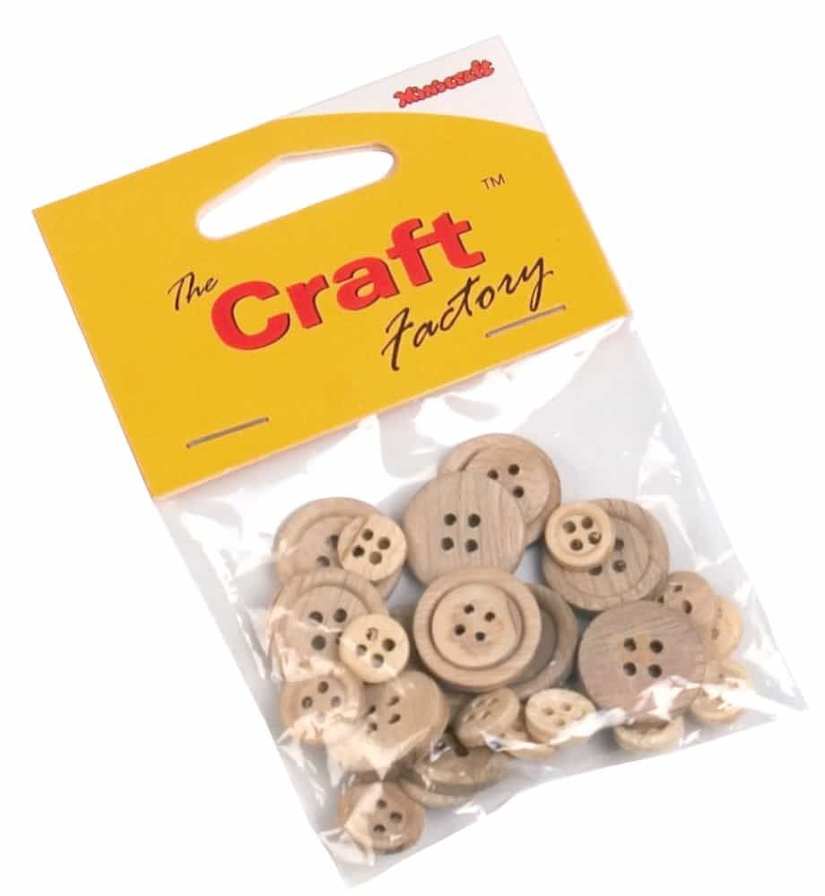 Wooden 4 Hole Buttons - Assorted - 30 Per Pack