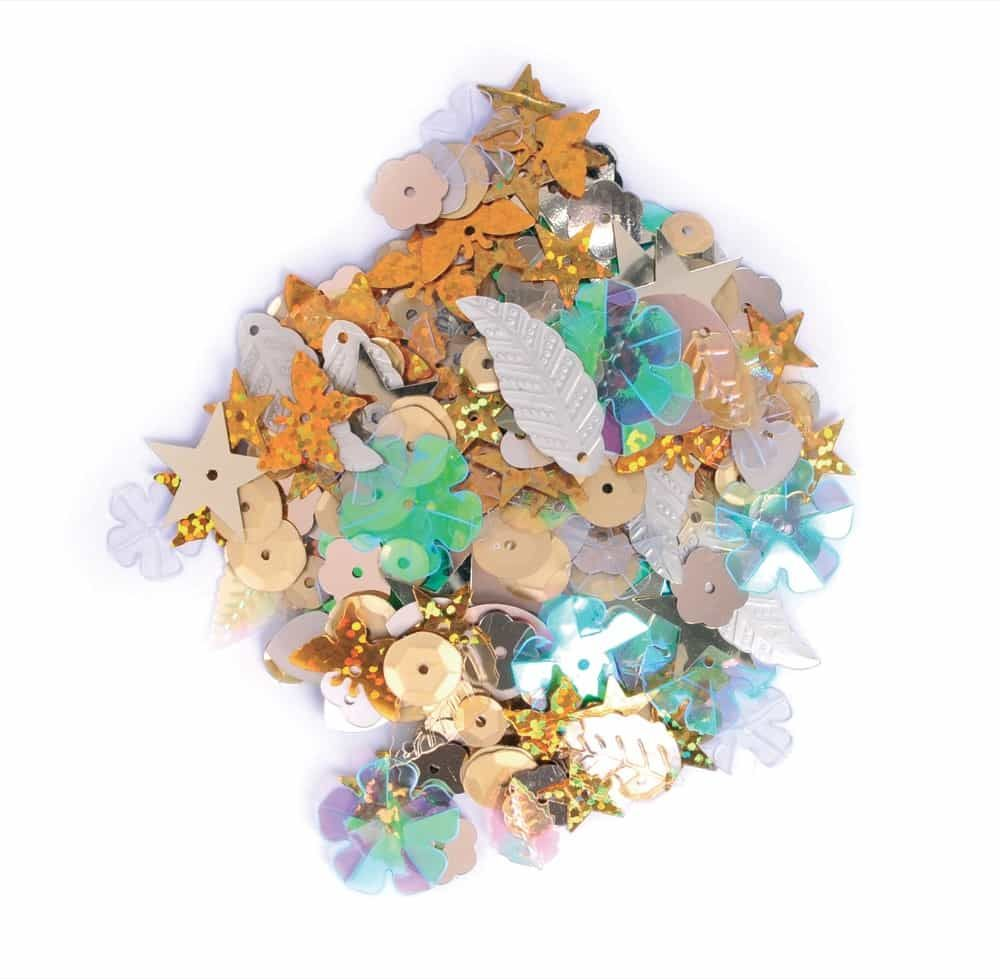 Sequins Mixed Shapes - Golds - 20grams Per Pack