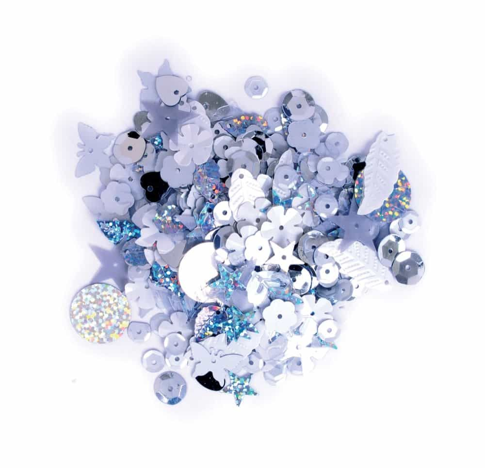 Sequins Mixed Shapes - Silvers - 20grams Per Pack