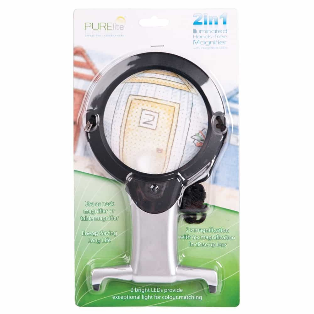 PURElite 2-in-1 Illuminated Hands-Free Magnifier 107mm Lens