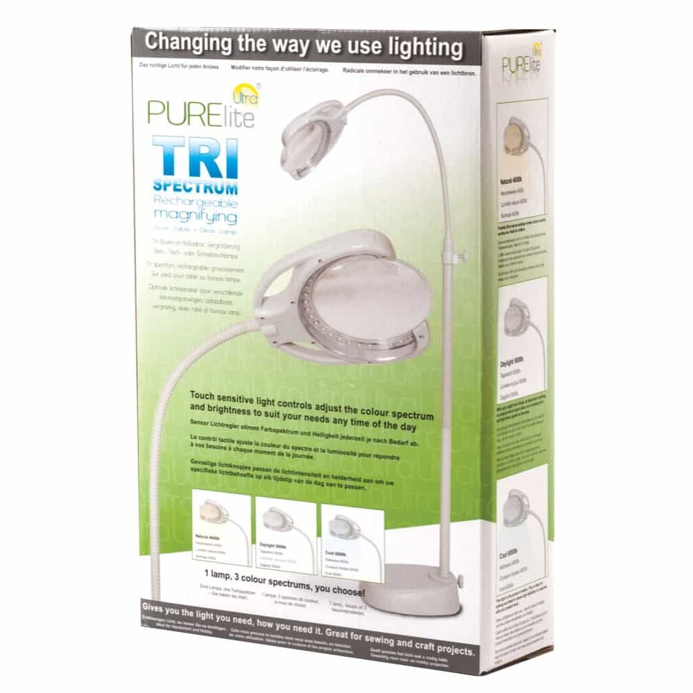 PURElite Tri Spectrum Rechargeable Magnifying Floor, Table and Desk Lamp - European