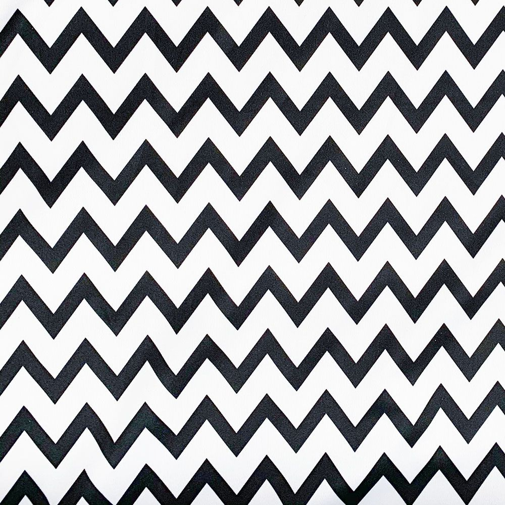 Plush Addict Black Chevron Patterned PUL Fabric (Polyurethane Laminate fabric) - Waterproof Breathable Fabric