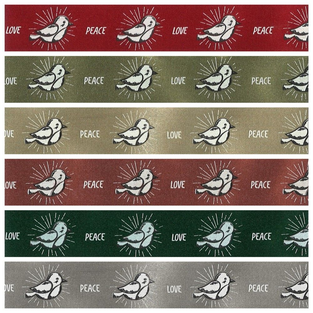 Berisfords Christmas Ribbon - Peace Chick - 6 Colours - 25mm Wide