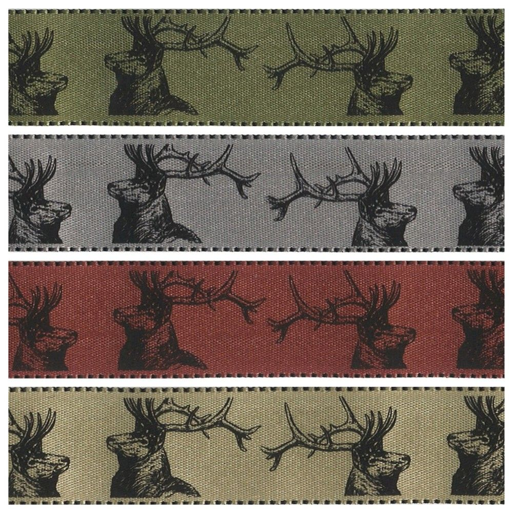 Berisfords Christmas Ribbon - Stags - 4 Colours - 25mm Wide
