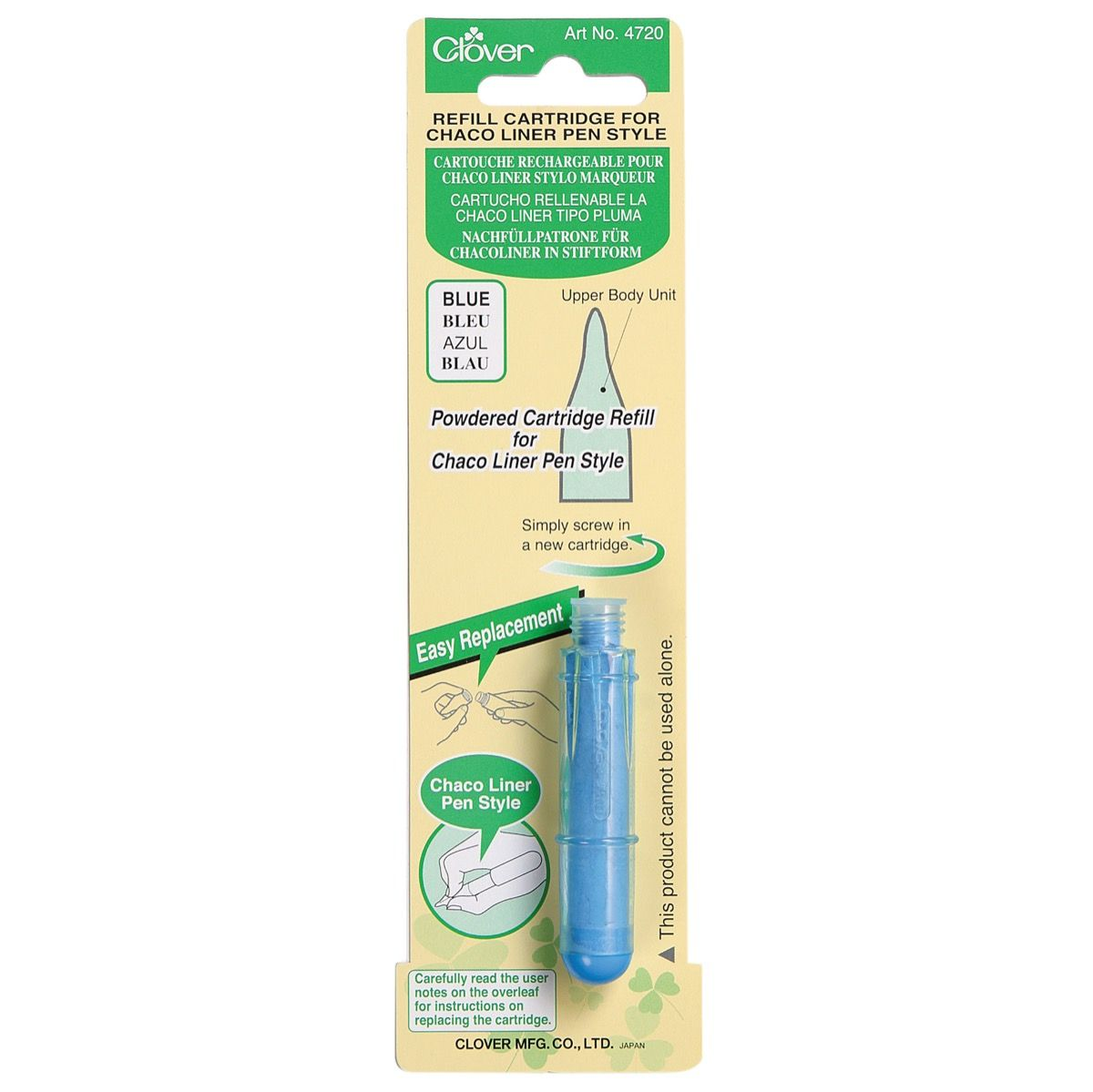 Clover Chaco Liner Pen Style Refill Cartridge - Blue