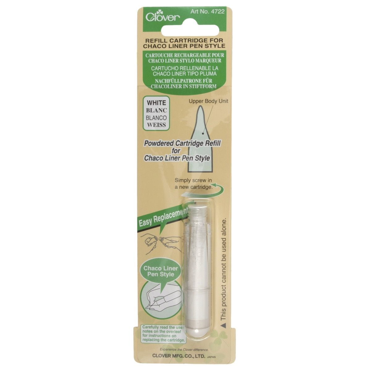 Clover Chaco Liner Pen Style Refill Cartridge - White