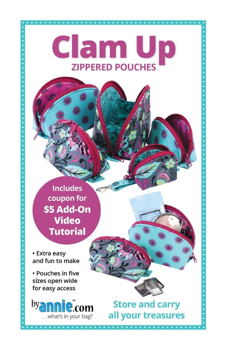 ByAnnie Sewing Pattern -    Clam Up Zippered Pouches Pattern