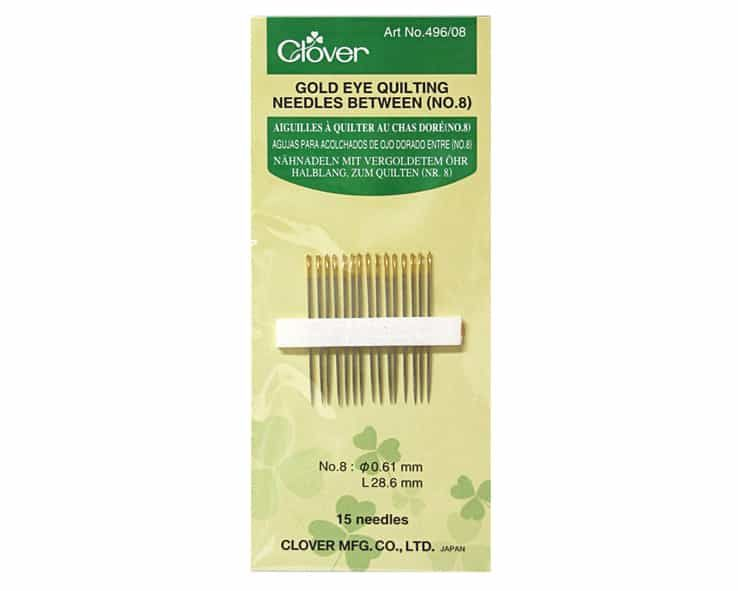 Clover Gold Eye Quilting Needles Betweens Size No 8: 15 to a Pack