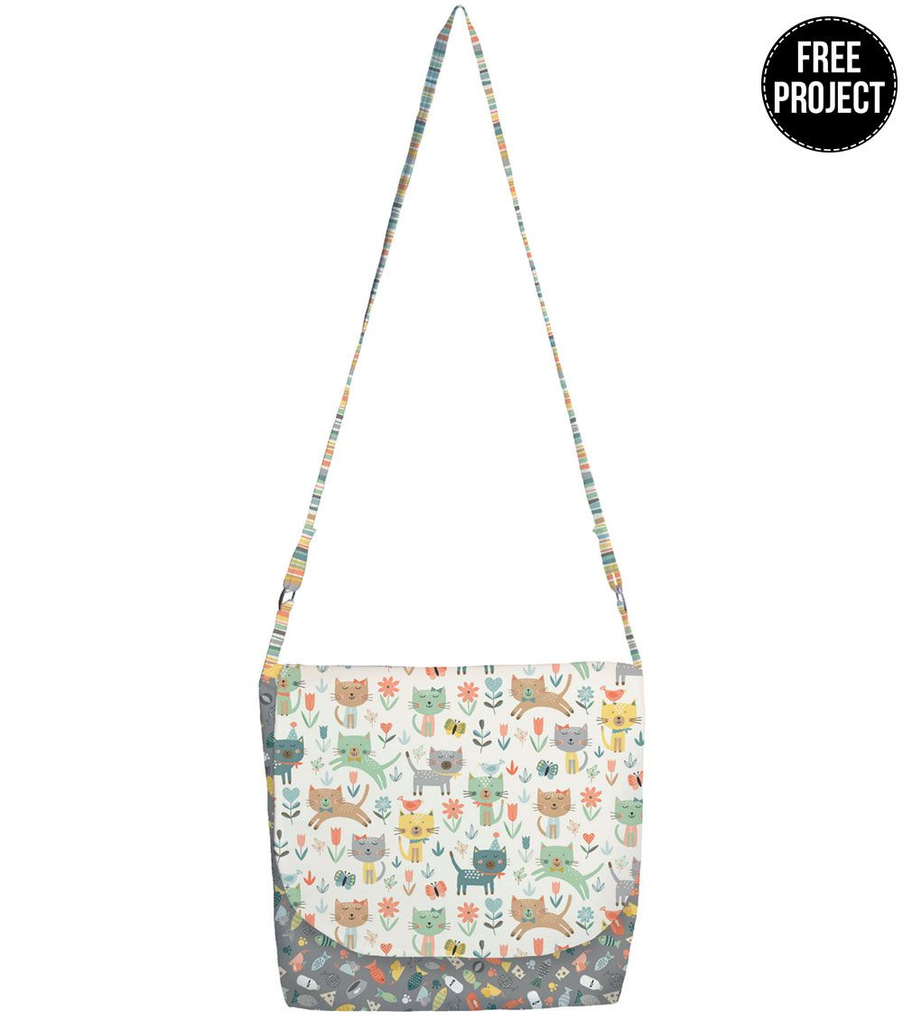 Makower: Cool Cats Messenger Bag Free Project: Instant Download