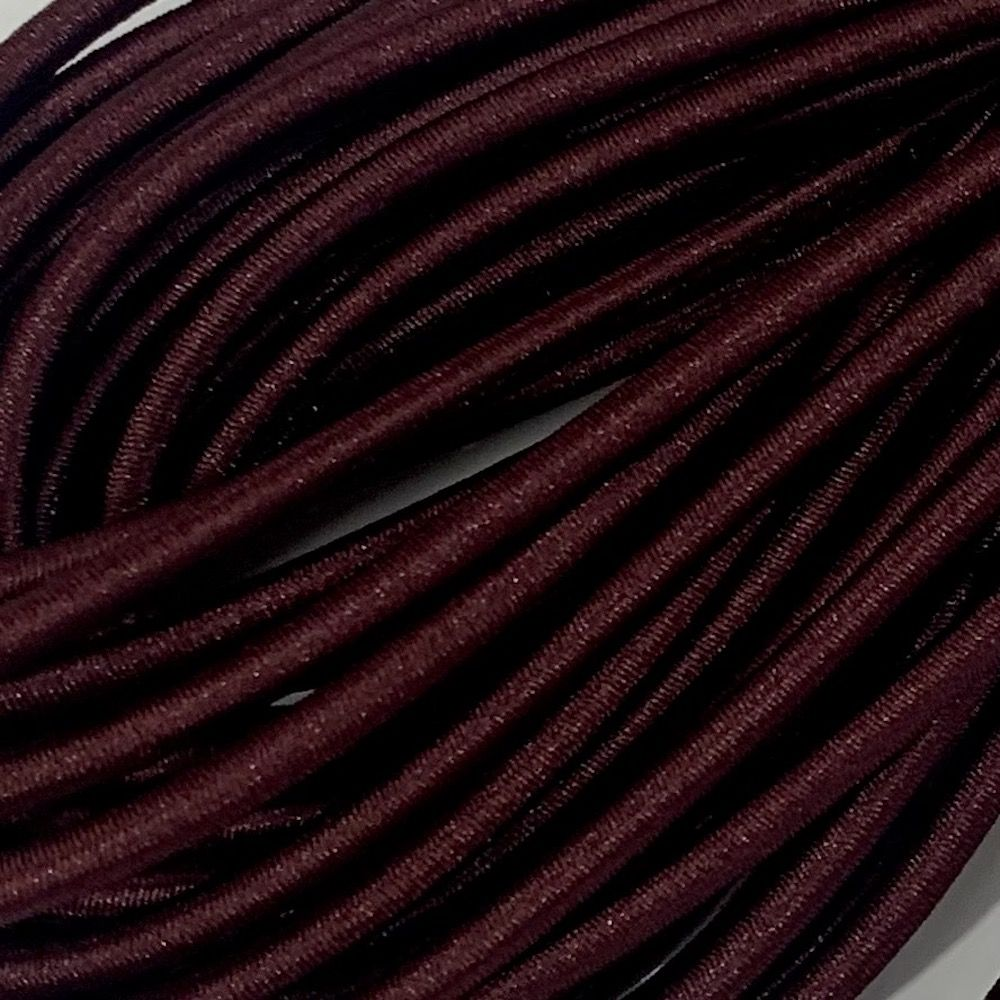 Round Elastic Cord - 3mm Wide - Burgundy