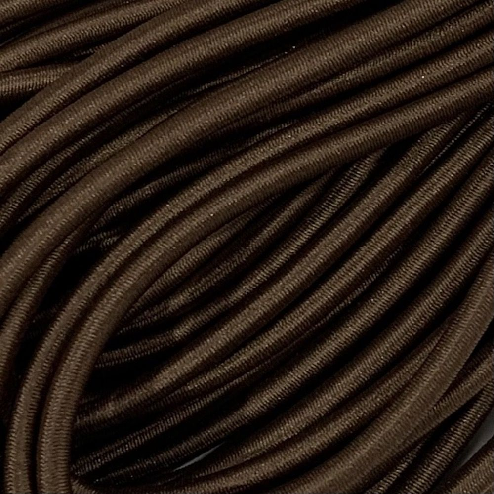Round Elastic Cord - 3mm Wide - Chocolate Brown