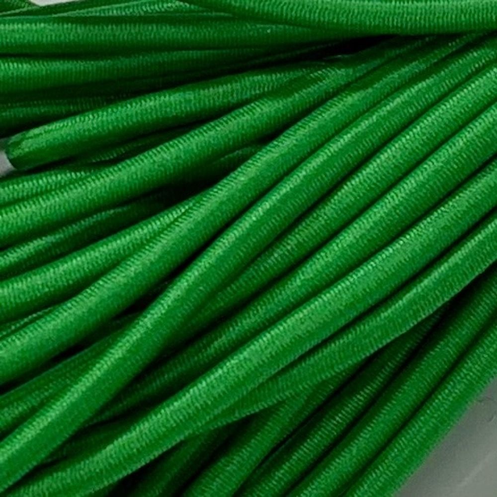 Round Elastic Cord - 3mm Wide - Green