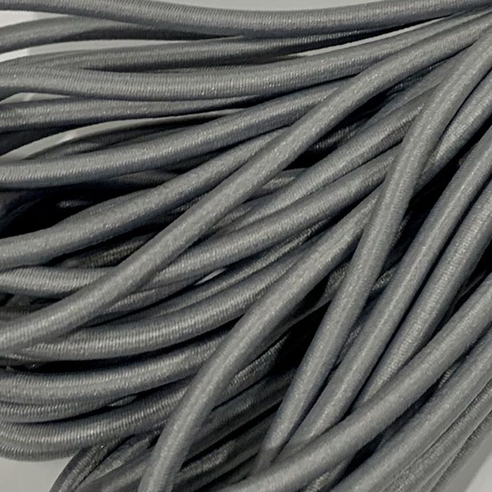 Round Elastic Cord - 3mm Wide - Silver Grey