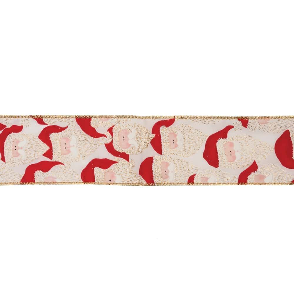 Remnant -Premium Wire Edged Christmas Ribbon - Santas On Light Gold - 63mm Wide - 260cm LENGTH