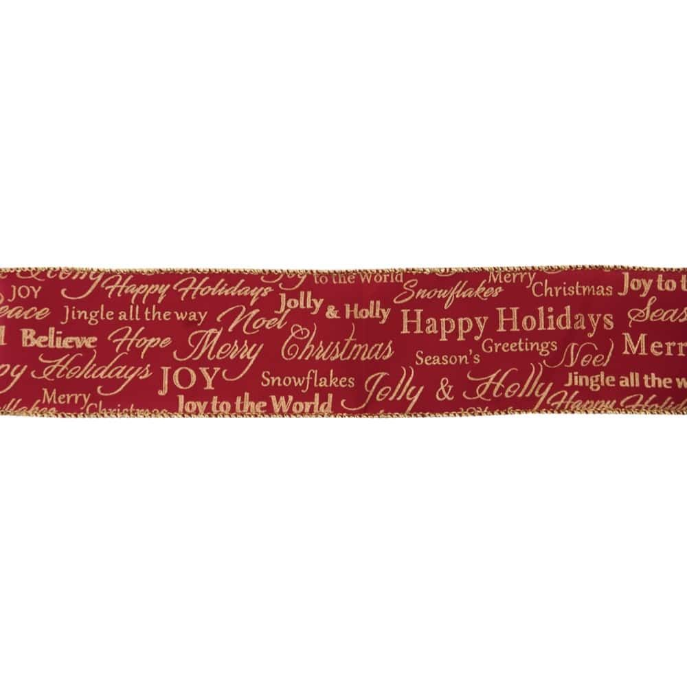 Premium Wire Edged Christmas Ribbon - Merry Christmas On Red - 63mm Wide