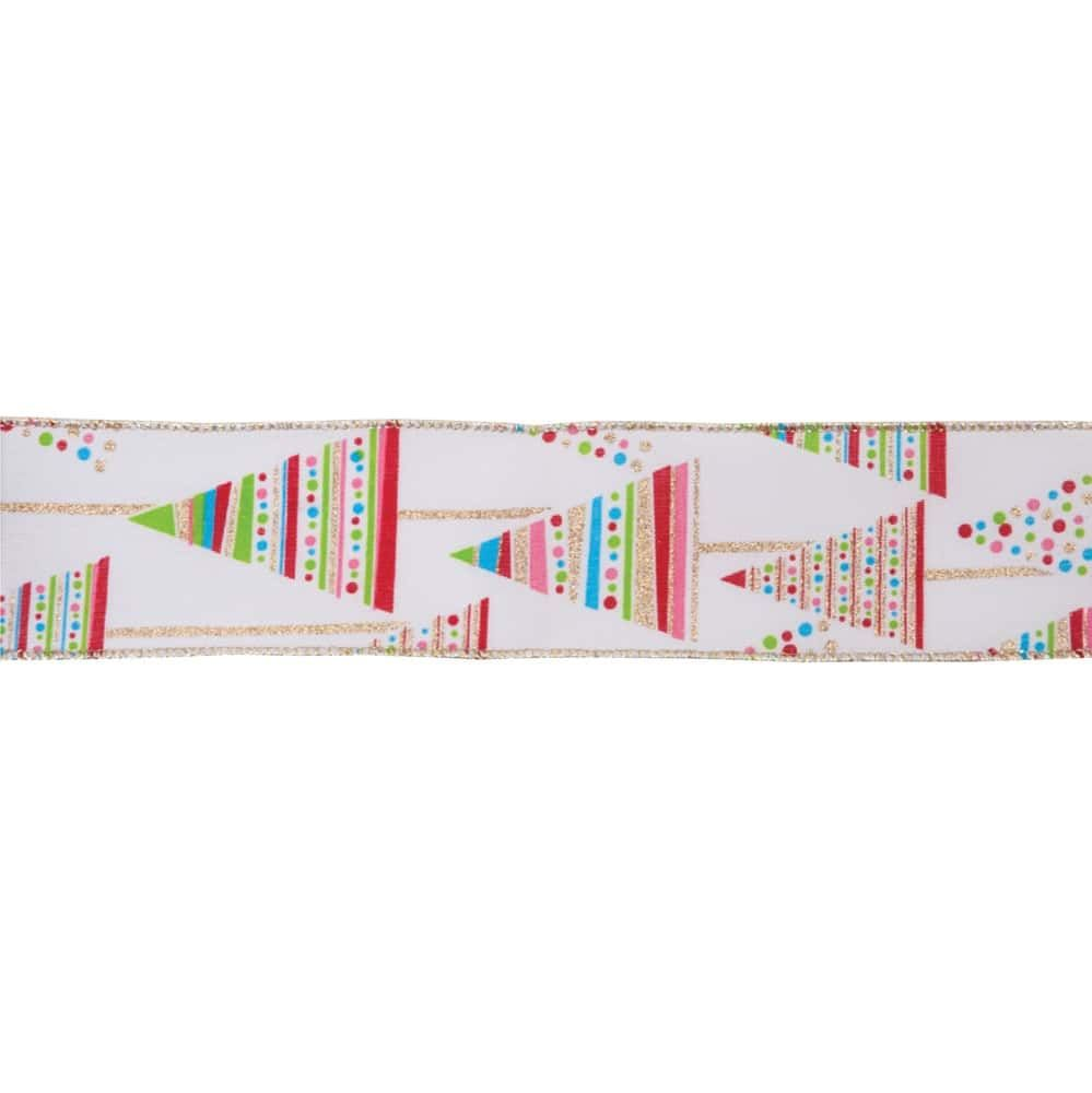 Premium Wire Edged Christmas Ribbon - Bright Trees - 63mm Wide