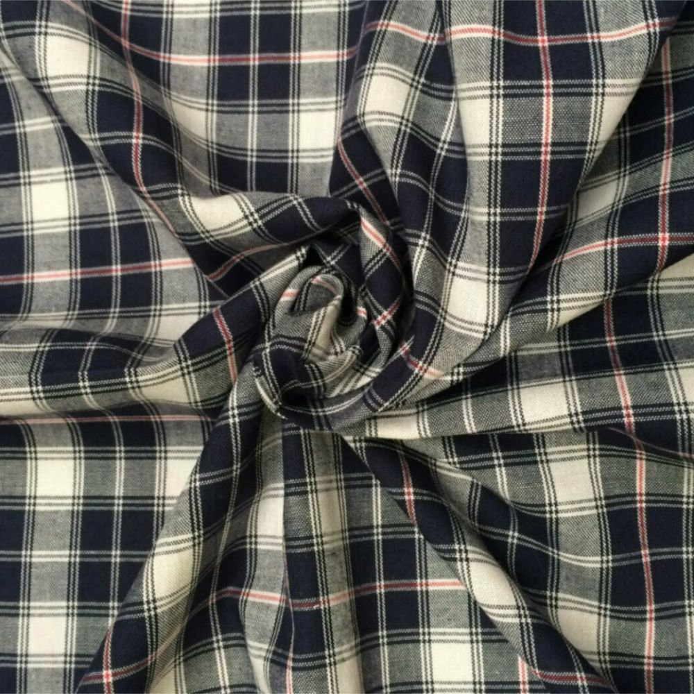 Cotton Tartan Fabric - Black Grey and White Check