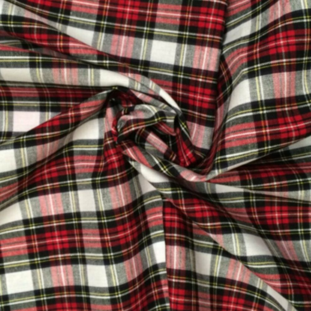 Cotton Tartan Fabric - Red And White Check