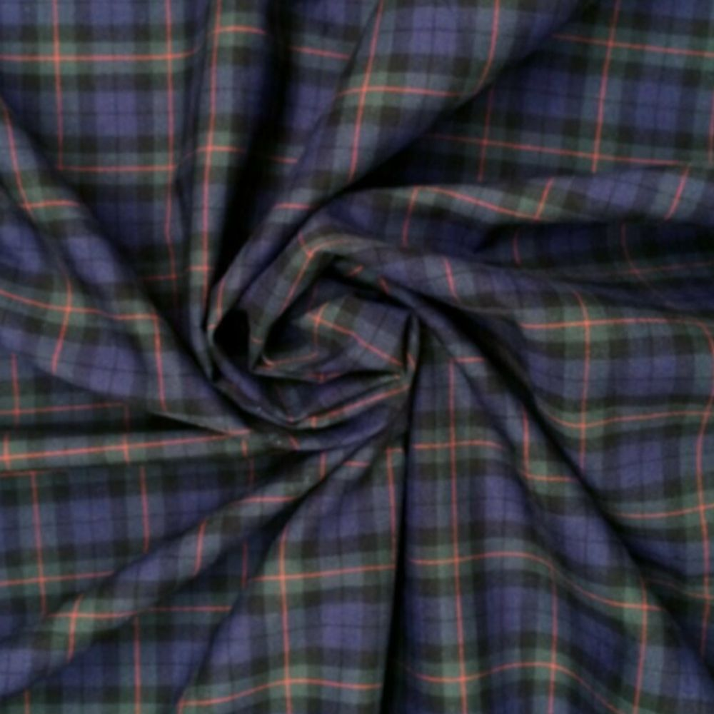 Cotton Tartan Fabric - Purple and Green Check