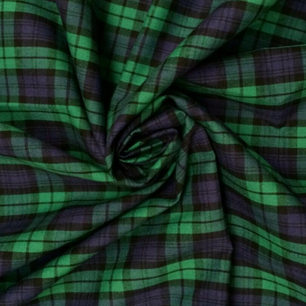 Cotton Tartan Fabric - Green and Purple Check