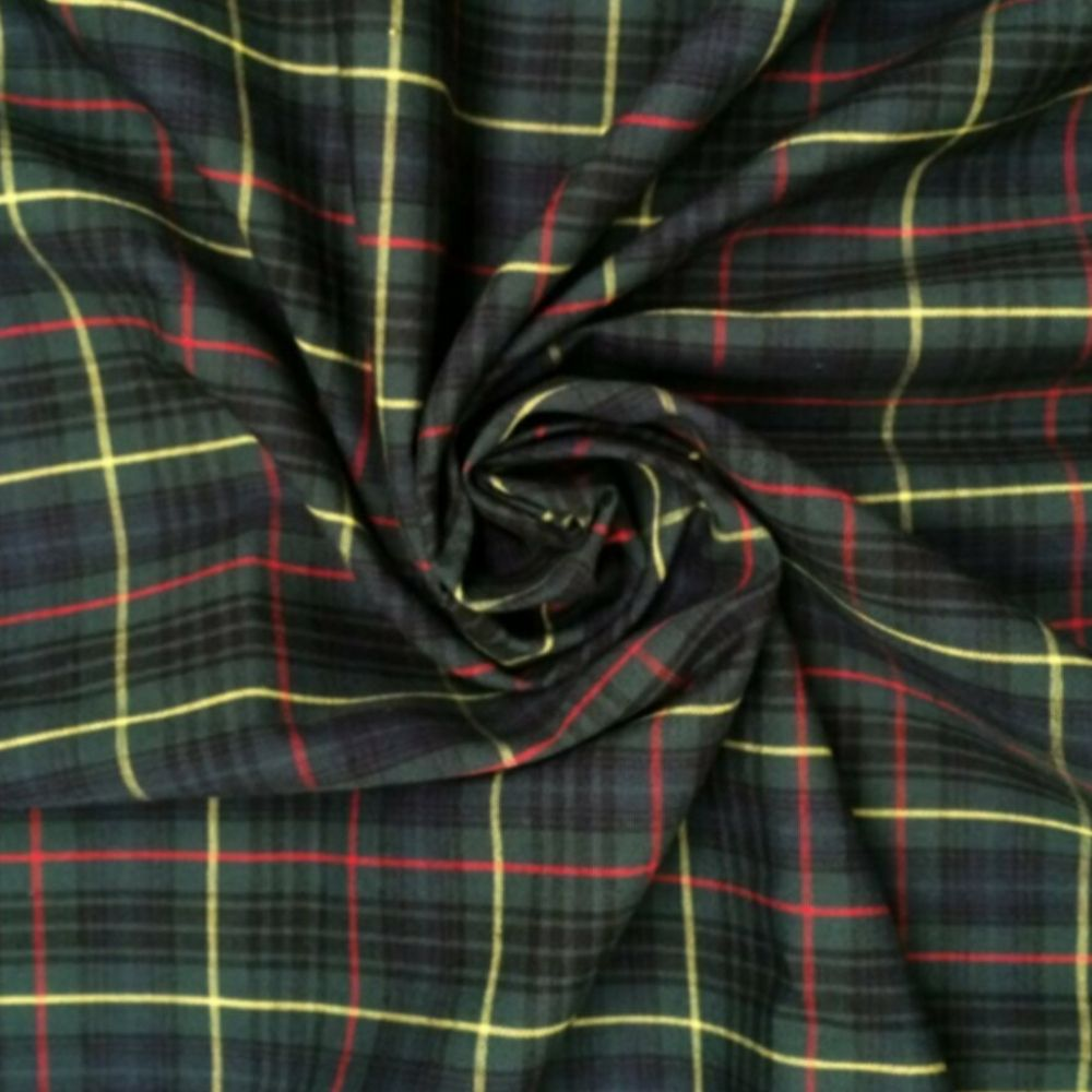 Cotton Tartan Fabric - Green Yellow and Red Check