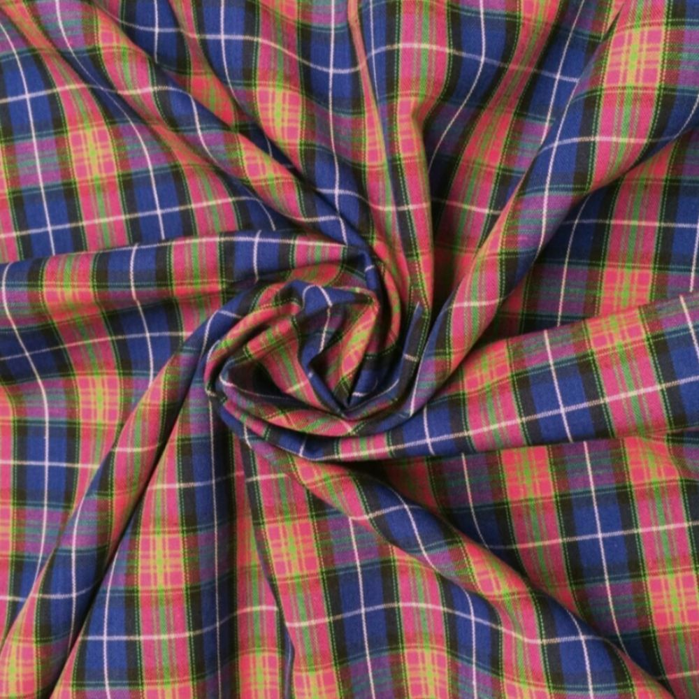 Cotton Tartan Fabric - Pink and Blue Check