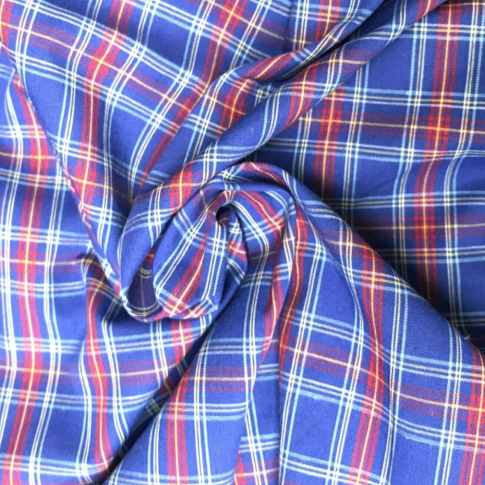 Cotton Tartan Fabric - Blue and Red Check