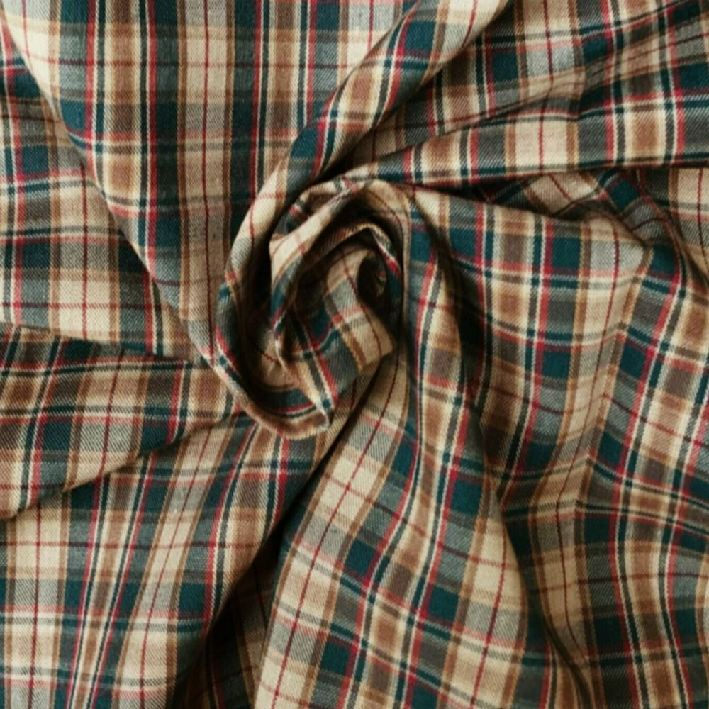 Cotton Tartan Fabric - Brown and Green Check