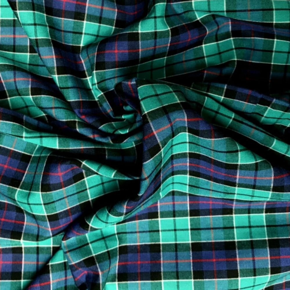 Cotton Tartan Fabric - Green Blue and Red Check