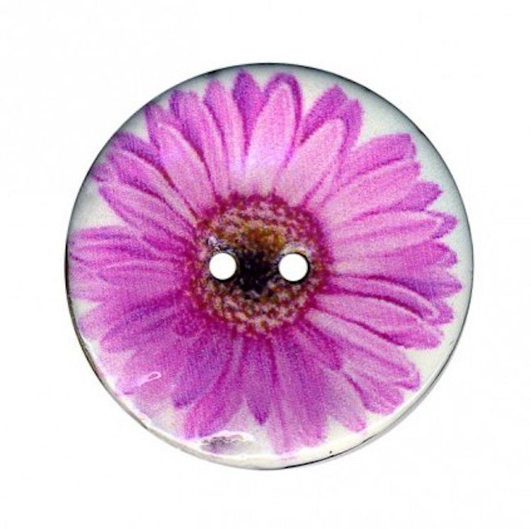 2 Hole Enamelled Coconut Shell Button Pink Daisy - 34mm / 54L
