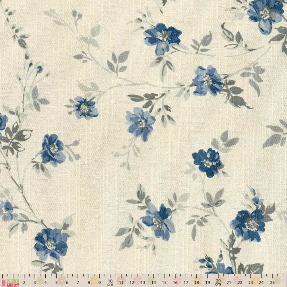 Upholstery / Curtain Fabric - Blue Floral