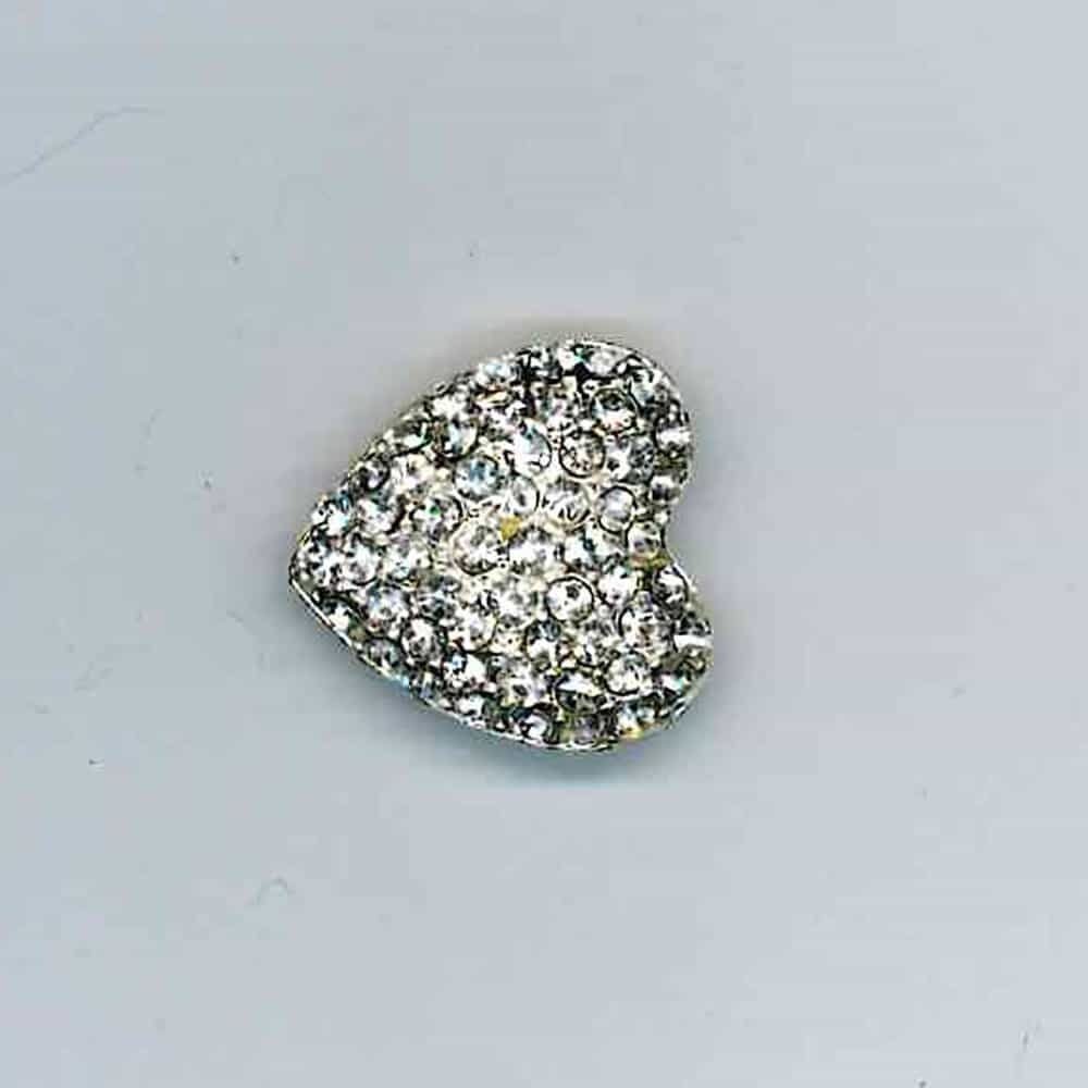 Diamante Heart Cluster Button Clear Stones 19mm