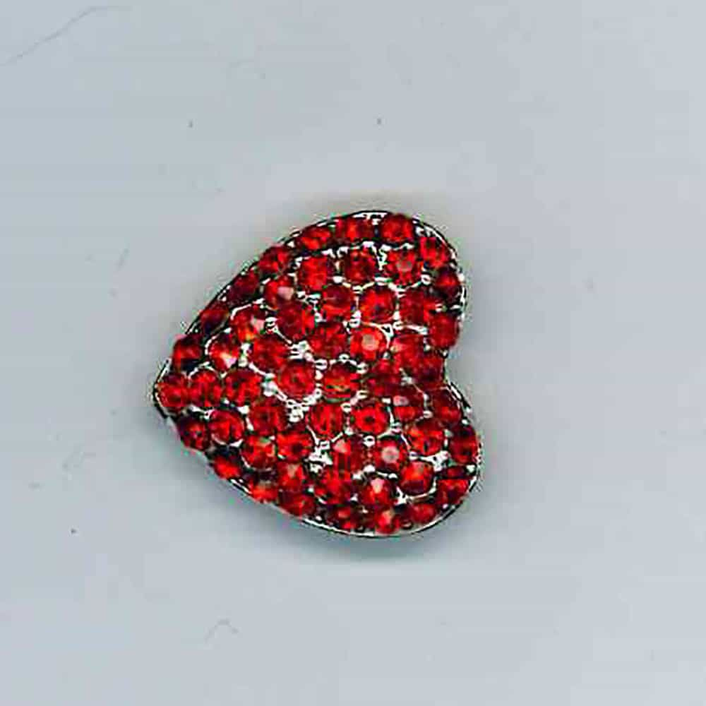 Diamante Heart Cluster Button Red Stones 19mm