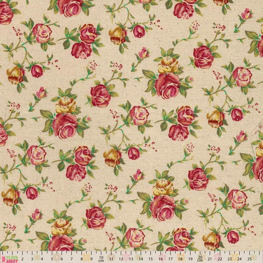 Linen Look Canvas Fabric - Roses On Natural